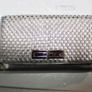 Beaded Convertible Black Leather Clutch